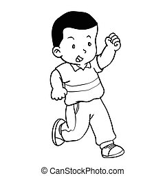 Hand drawing of boy running -Vector Illustration