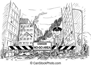 Hand Drawing of City Street Destroyed by Riot, Road Blocked by Danger No-Go Area Sign and Policemen