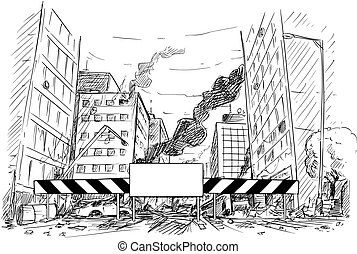 Hand Drawing of City Street Destroyed by War or Riot or Disaster