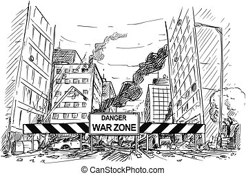Hand Drawing of City Street Destroyed by War, Road Blocked by War Zone Sign