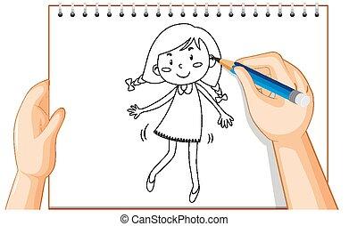 Hand drawing of cute girl cartoon