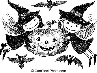 Hand drawing of elves with a halloween pumpkin