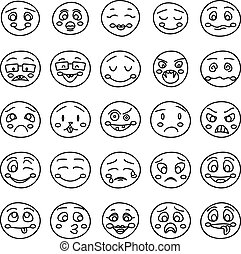 Hand drawing of emoticons or vector doodle emotional faces
