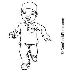 Hand drawing of Muslim Boy make running -Vector Illustration
