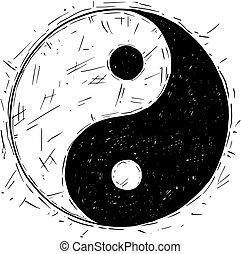 Hand Drawing of Yin Yang Jin Jang Symbol