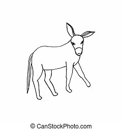 hand-drawing on a white background donkey