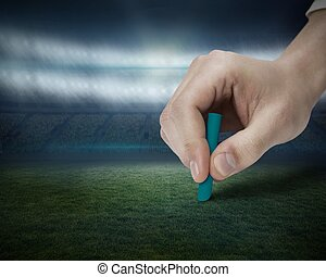 Hand drawing on football pitch