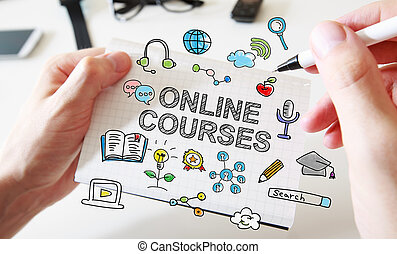 Hand drawing Online Courses concept on white notebook