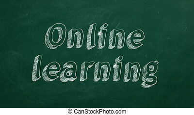 "Online learning - Hand drawing ""Online learning"" on green ..."
