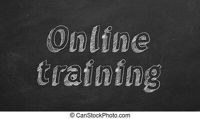 """Online training - Hand drawing """"Online training"""" on black..."""
