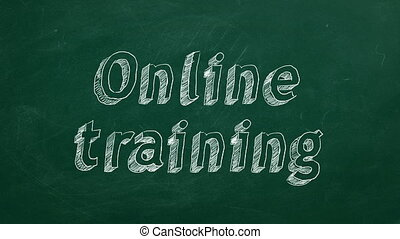"""Online training - Hand drawing """"Online training"""" on green..."""