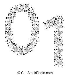 Hand drawing ornamental alphabet. Letter 01