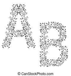 Hand drawing ornamental alphabet. Letter AB