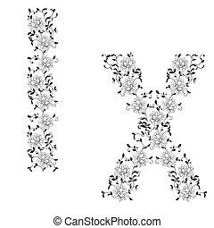 Hand drawing ornamental alphabet. Letter IX