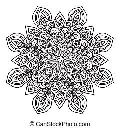 Hand drawing ornate mandala element in eastern style - Hand...