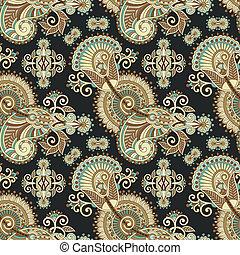 hand drawing ornate seamless flower paisley design background, ukrainian ethnic style