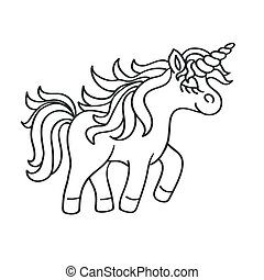 Hand drawing outline walking unicorn icon isolated on white