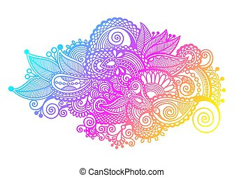 hand drawing paisley design of rainbow flower