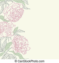 Hand drawing peony flowers frame. - Hand drawing tenderness...
