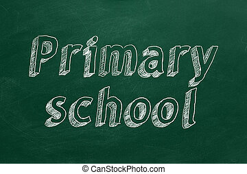 """Primary school - Hand drawing """"Primary school"""" on green..."""