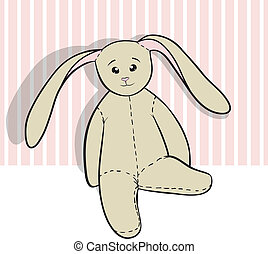 Hand-drawing rag bunny isolated on white and pink