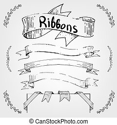 Hand drawing Ribbons and banners for text
