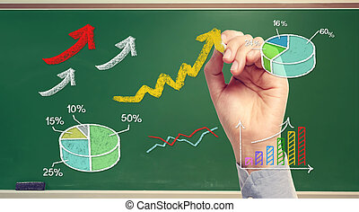 Hand drawing rising arrows and graphs on chalk board