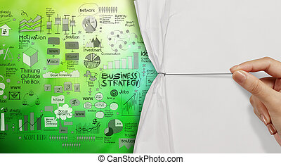 hand drawing rope open crupled paper show business strategy as