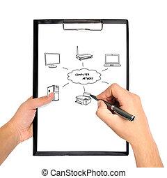scheme wi-fi - hand drawing scheme wi-fi on clipboard