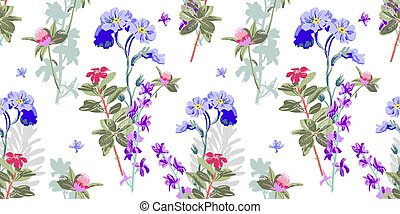 hand drawing seamless floral pattern - wild flower