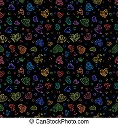 Hand Drawing Seamless Pattern of Colorful Hearts on Black...