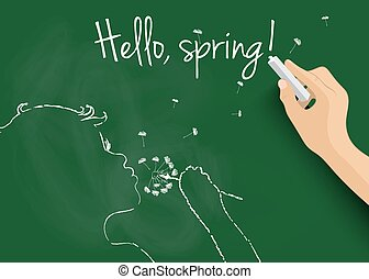 "Hand drawing silhouette of spring girl, and writing ""Hello spring"" on blackboard. Vector EPS10."