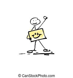 hand drawing sketch doodle human stick figure on paint ...