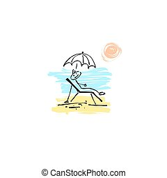 sketch doodle human stick figure relaxing in a deck chair -...