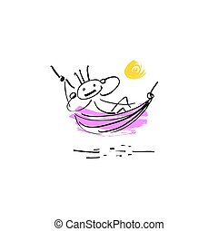 sketch doodle human stick figure resting in a hammock - hand...