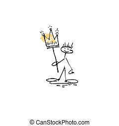 hand drawing sketch human smile stick figure with crown,...