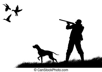 hand drawing sketch illustration of a Hunter and trained pointer gun dog hunting