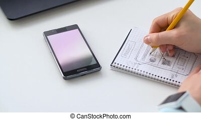 hand drawing sketch of smartphone interface design -...