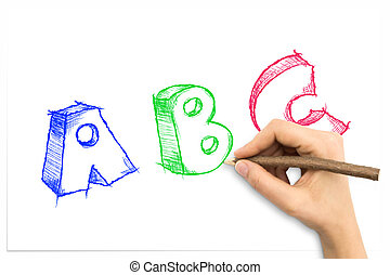 Hand drawing sketchy ABC letters on white sheet of paper