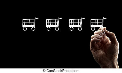Hand Drawing Small Shopping Carts