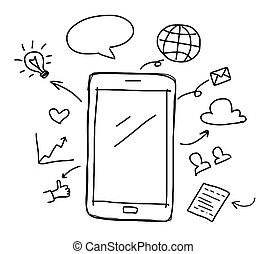 hand drawing smart phone with social media concept