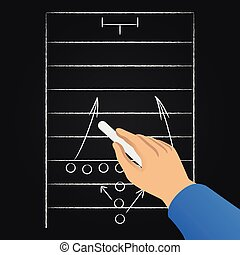 Hand drawing soccer game strategy