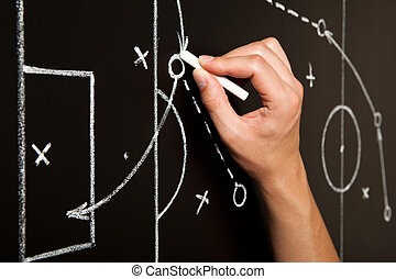 Hand Drawing Soccer Game Tactics - Hand drawing a soccer...