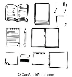 hand drawing stationary design set vector format