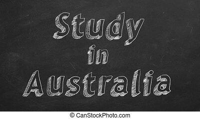 "Study in Australia - Hand drawing ""Study in Australia"" on..."