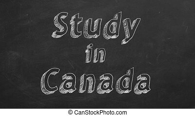 """Study in Canada - Hand drawing """"Study in Canada"""" on black..."""