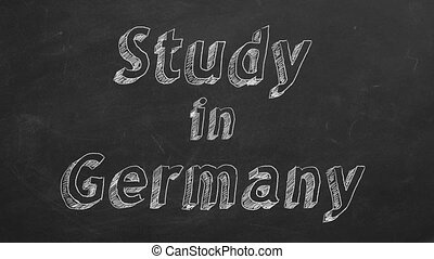 """Study in Germany - Hand drawing """"Study in Germany"""" on black..."""
