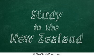 "Study in New Zealand - Hand drawing ""Study in New Zealand""..."