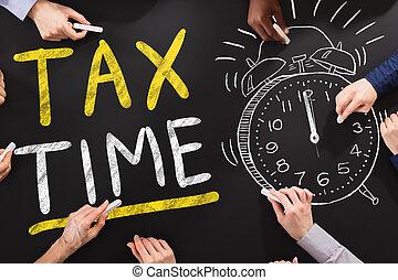 Tax Time Concept On Blackboard