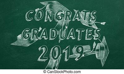 """Congrats graduates. 2019. - Hand drawing text """"Congrats..."""